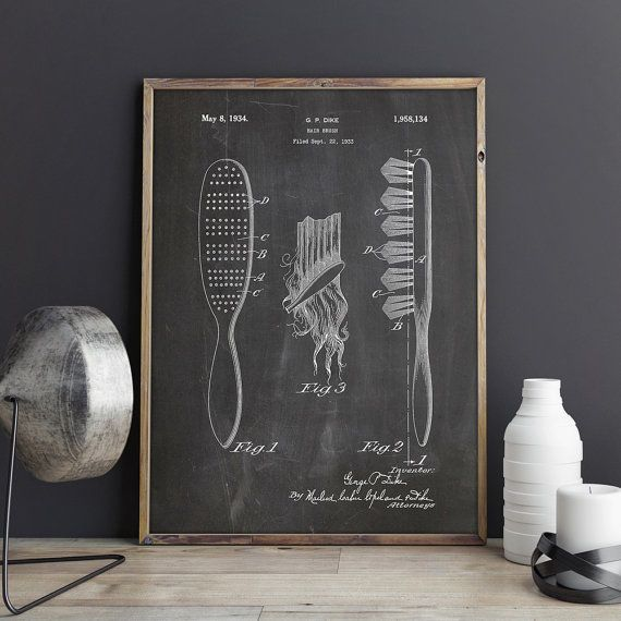 Houten haren borstel 1933 Patent Poster met ijdelheid Decor, Vintage haren borstel, meisjes kamer muur Decor, Hair Salon Art PTP0305 INSTANT DOWNLOAD