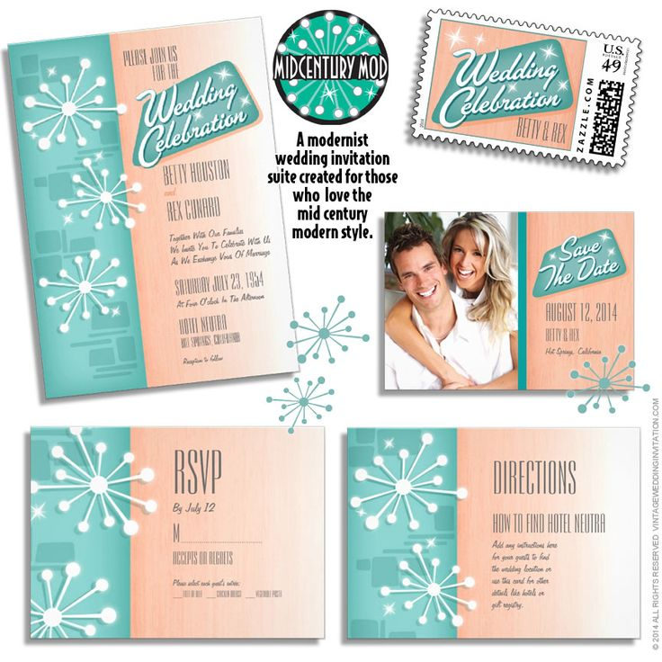 Mid Century Romance Save The Date Cards: 17 Best Images About Mid Century Modern Wedding
