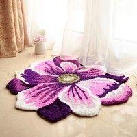 Wish | Luk Oil Handmade Purple Poppy Flowers Pastoral Door Mat Acrylic Kitchen Bedroom Area Rugs Modern Anti-slip Carpet 27.56 by 27.56 Inch