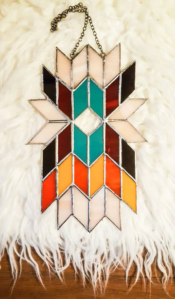 Geometric Wall Art, Abstract Art, Stained Glass Panel, Tiffany, Suncatcher, Mid Century Modern, Art Deco, Boho, Tribal, Aztec, Feathers by GlassJackal on Etsy https://www.etsy.com/listing/493466572/geometric-wall-art-abstract-art-stained