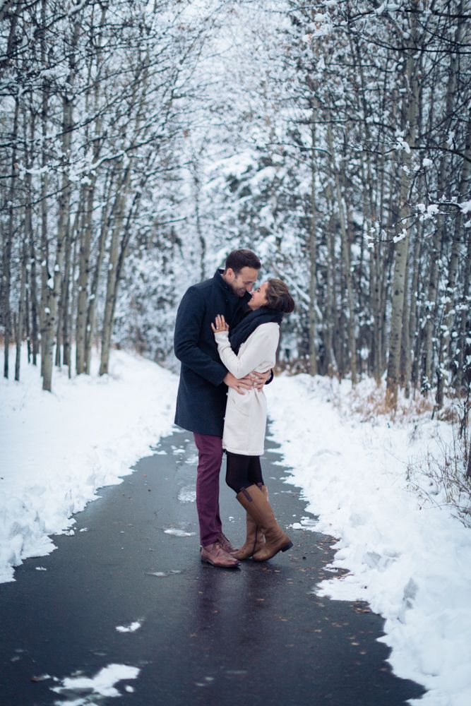 Romantic Winter Engagement Session in Calgary