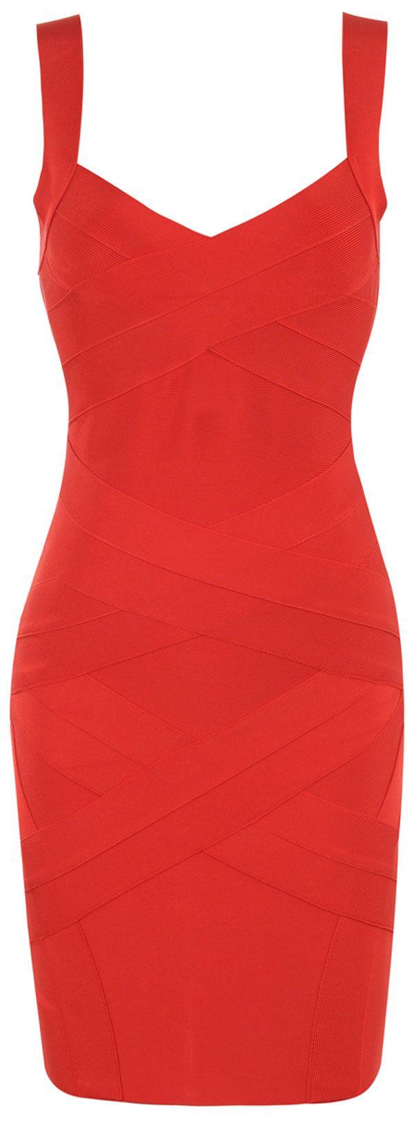 Clothing : Bandage Dresses : 'Jennifer' Cross Back Red Bandage Dress