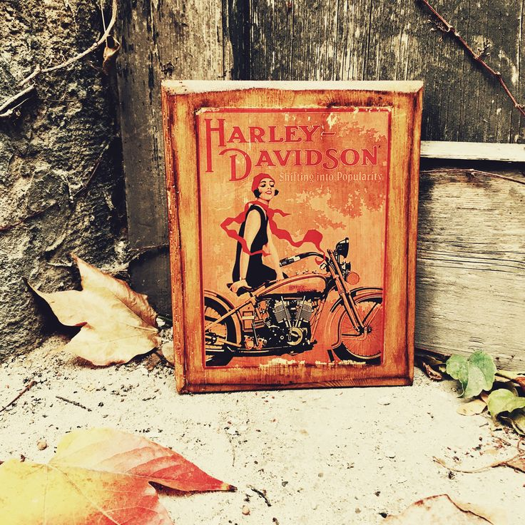 Excited to share the latest addition to my #etsy shop: Harley Devidson J JD with Flapper Girl Motorcycle Home Decor Wooden Picture Garage Decor Artwork
