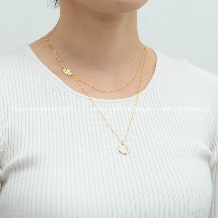 Side Hamsa Necklace, Gold Tiny Hamsa Necklace, Off centered Hamsa, Hand of…