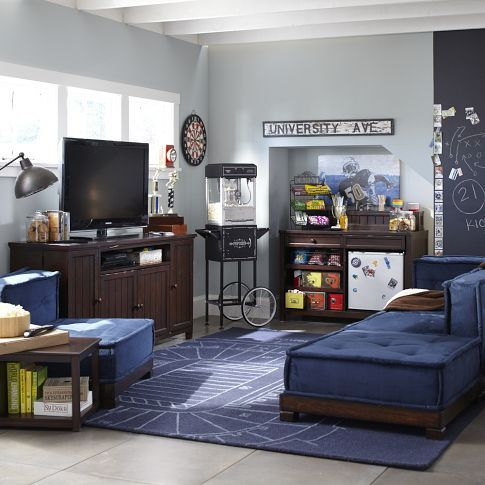 Great room design. The sectional couch is very casual but looks comfortable. I like the color. #PBTEEN
