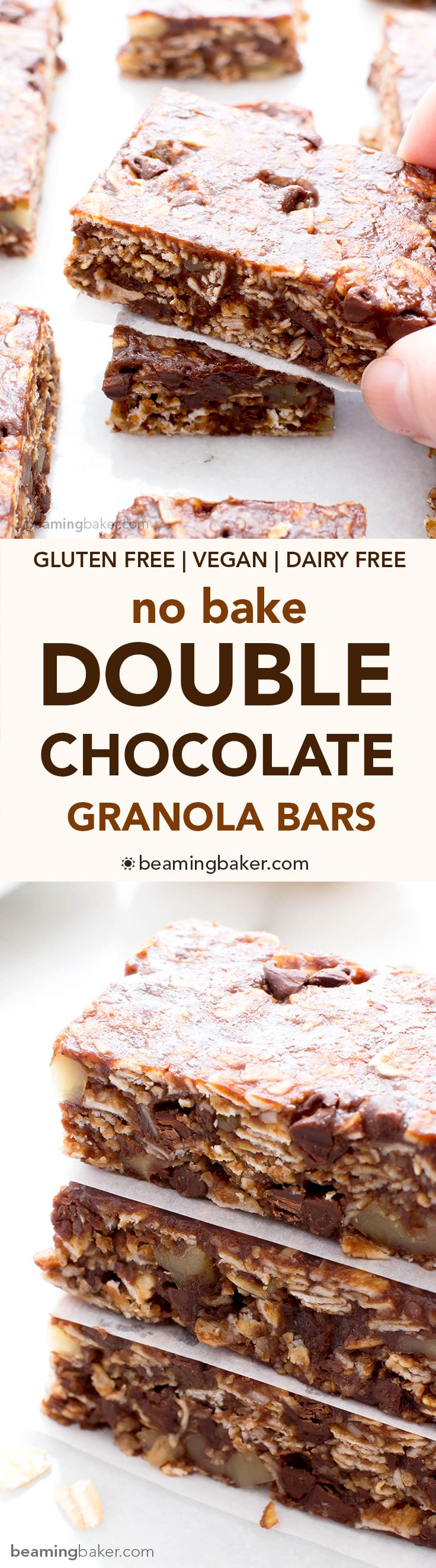 No Bake Double Chocolate Chip Granola Bars (V+GF): an easy recipe for chewy double chocolate granola bars made with simple ingredients. Vegan, Gluten Free.