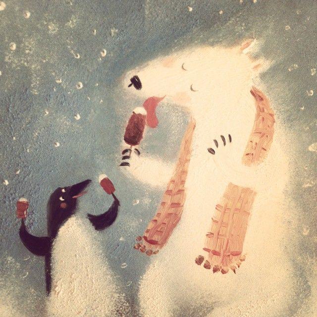 #picture #painting ##oilpainting #art #winter #bear #пингвин #penguin #icecream #мороженое #медведь #пингвин #шарф #snow
