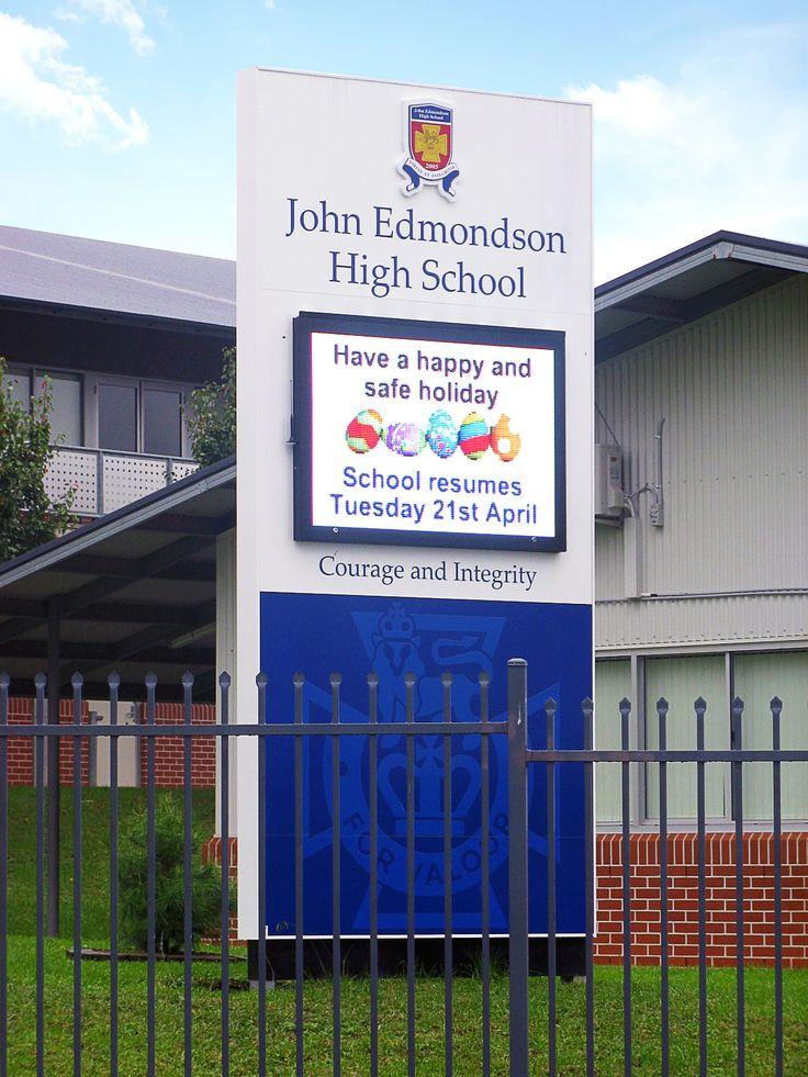 John Edmundson High School #CSI #CorporateSignIndustries #200 #series #custom #Design #signage #LED school #recognition #identity #sign
