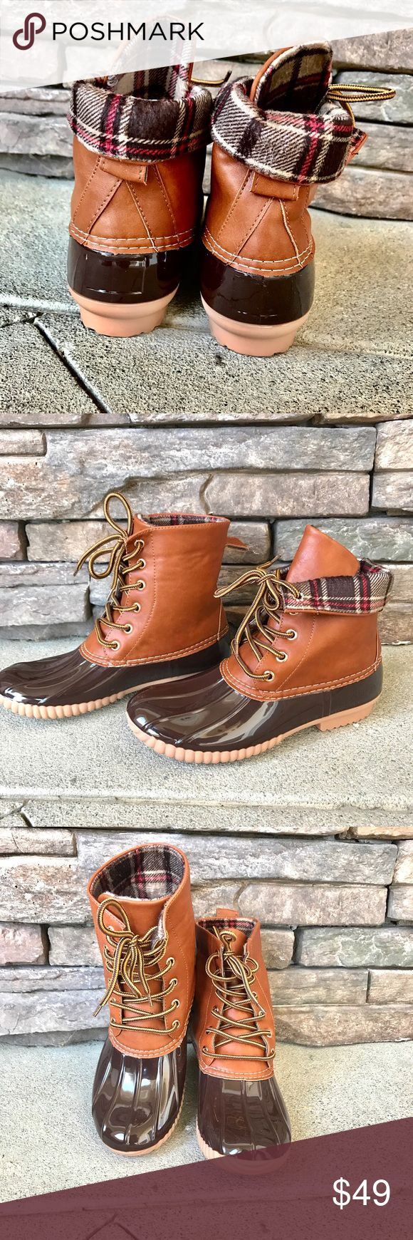 LAST SIZES Plaid Warm Winter Snow Duck Boots 🍂Brand New 🍂Water Proof🍂FULLY Insulated lining🍂Two Tone Laces🍂True to Size🍂All Vegan Materials 🍂Feel Free To Ask Question!🍂No Trades🍂🍃 www.thefairyden.com🍃 Shoes Winter & Rain Boots