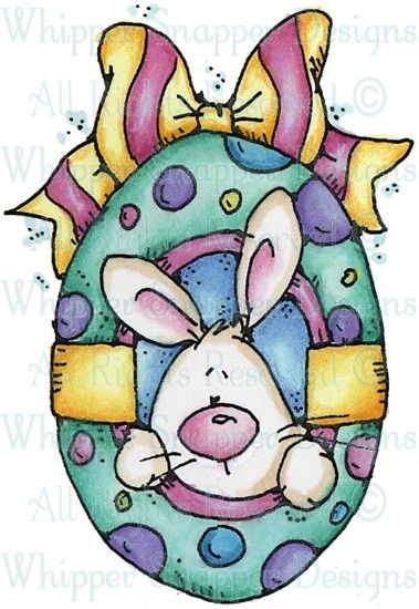 Peeking Bunny & Egg - Easter - Holidays - Rubber Stamps - Shop