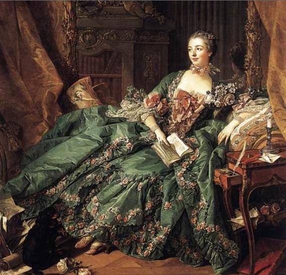마담퐁파두르의 초상 로코코 패션의 가장 대표적인 두 여인중의 하나인 마담퐁파두르이다. 이 여인은 루이15세의 애첩이었다. 퐁파두르는 미모, 지성 그리고 예술을 두루 갖춘 당대 사교계의 스타였다. 로코코 패션의 대표적인 여인답게 코르셋은 물론 파딩게일치마 등을 즐겨입었으며 로코코 패션의 양대산맥 중 다른 한명의 여인인 마리 앙투아네트보다 리본, 꽃, 깃털, 프릴, 러플 레이스를 더 다양하게 사용하여 여성스러움을 극대화 한 것이 특징이다. 베르사유 궁전에 입성 후 그녀는 궁전 등을 우아하고 화려한 로코코 양식으로 치장하였으며 부셰의 열렬한 후원자로 자신의 전속 화가로 두고 계속해서 자신의 초상화를 그리도록하였다.