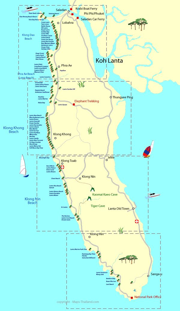 Hotel map Koh Lanta