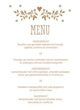 Klassieke menukaart kraftpapier met rand met kleine witte bloemetjes. Bij deze menukaart hoort ook een trouwkaart, tafelkaartje, save the date en bedankkaart in hetzelfde ontwerp.