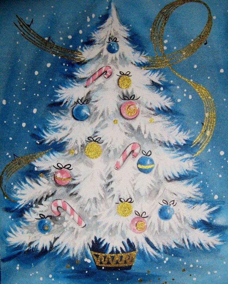 Vintage White Christmas Tree Pink Blue Gold Ornaments Hallmark Greeting Card