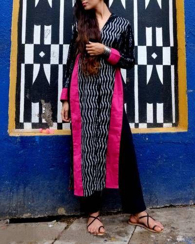 Black Pink Ikat Slit Kurta I Shop at :http://www.thesecretlabel.com/designer/sugandh