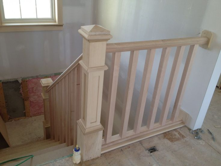 Incredible Painted Stair Railing Creates Cool Protecion: Natural Wood Painted Stair Railing Steep Stairs French Window ~ dickoatts.com Modern Home Designs Inspiration