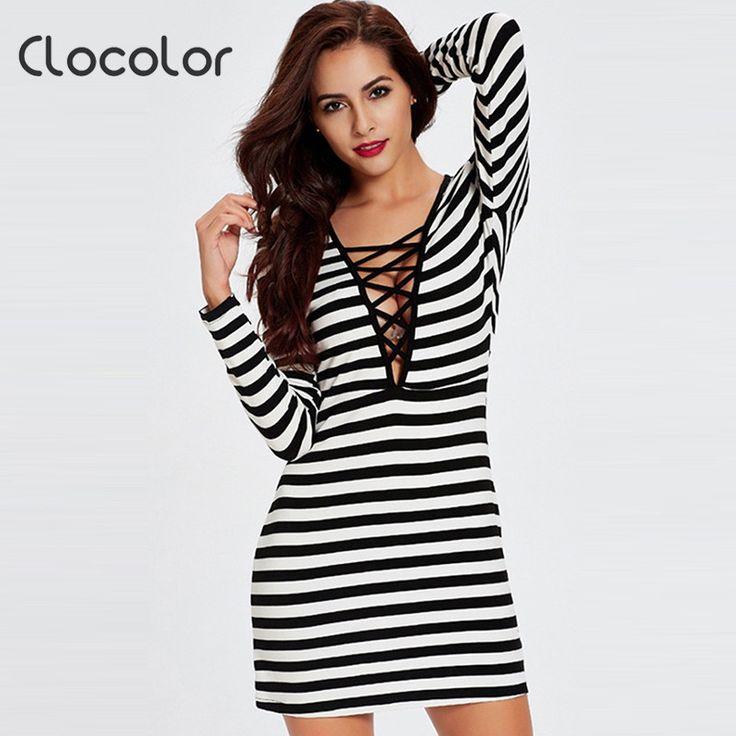 Clocolor boydycon women dress Spring Summer Fall vestidos sheath autumn Dress renda V-neck Striped summer slim bodycon dress