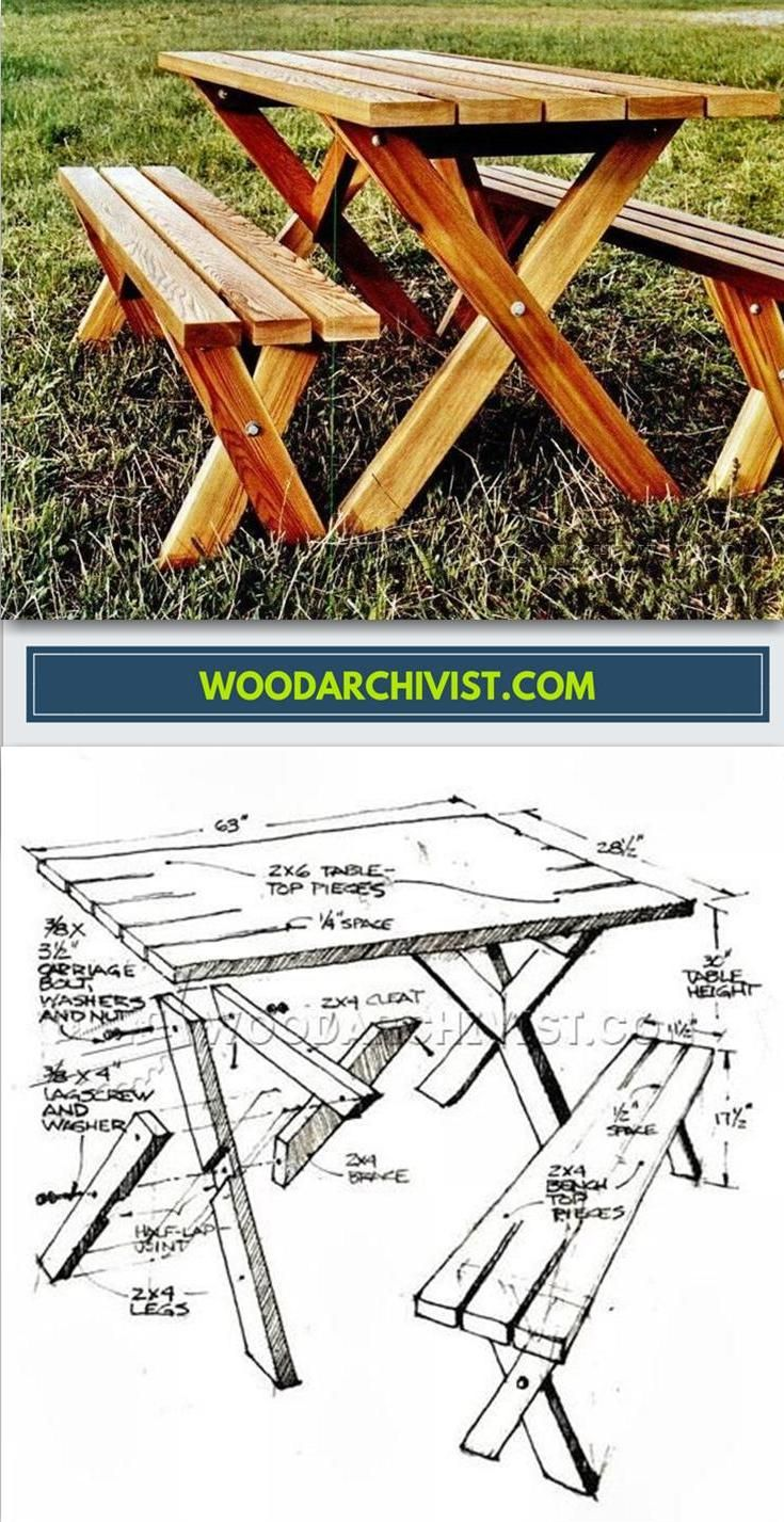Picnic Table Plans - Outdoor Furniture Plans and Projects | WoodArchivist.com