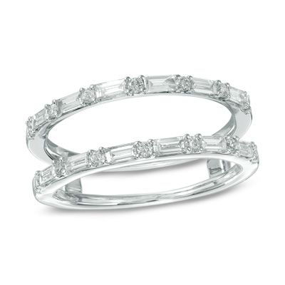1/2+CT.+T.W.+Baguette+and+Round+Diamond+Solitaire+Enhancer+in+14K+White+Gold