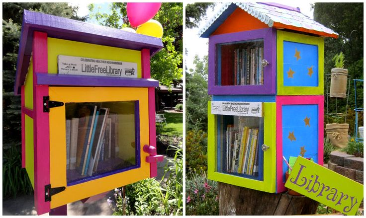 Little Free Libraries at littlefreelibary.org - mailbox-sized book boxes with room for a selection of books that are free to take and swap and share.