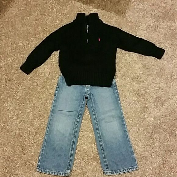 Polo Outfit size 4t Black sweater Polo Ralph Lauren. Good condition! 100% cotton.  Jeans are 100% cotton as well, good condition! Polo by Ralph Lauren Bottoms Jeans