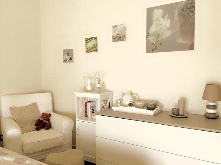 Badroom camera da letto con angolo meditazione e relax shabby total white zen
