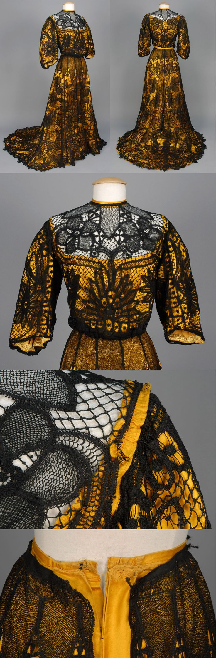 BATTENBURG LACE AFTERNOON GOWN, c. 1902.2-piece black lace over marigold cotton sateen having pigeon breasted bodice with 3/4 bell sleeve and side closure, trained skirt with deep hem flounce. B-36, W-27, L-44 with 15 inch train. (Few broken brides, waistband torn, cotton lining probably not original) good. Whitaker Auctions.