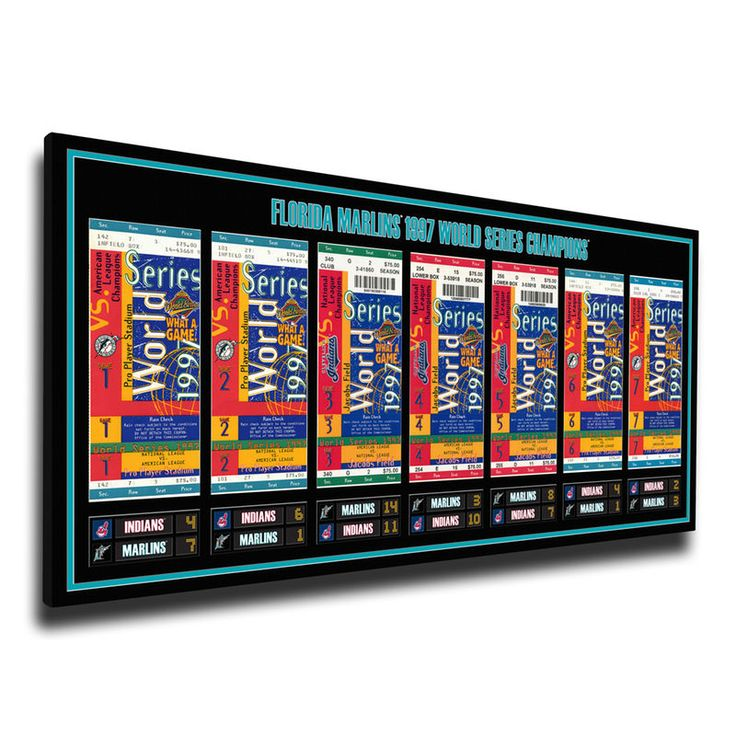 Florida Marlins 1997 World Series Champions Tickets To History Canvas Print