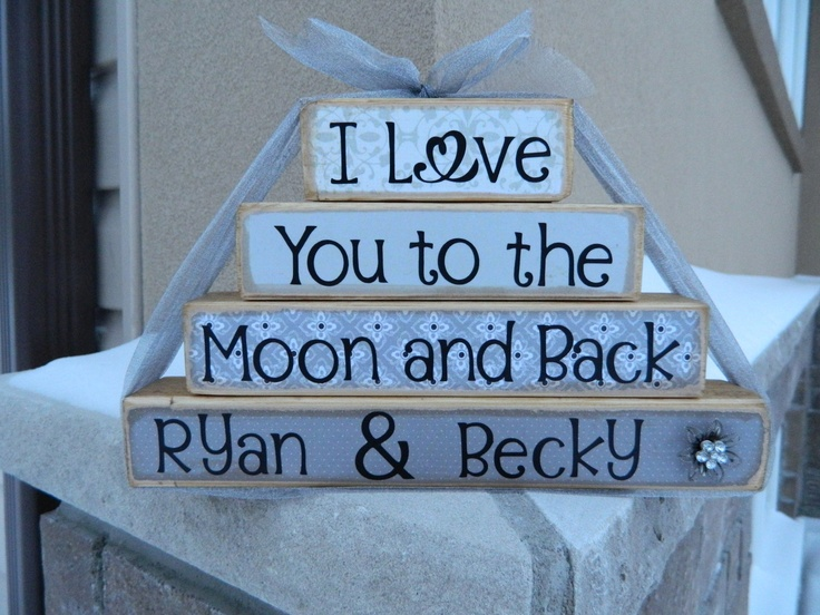 Personalized I love you to the moon and back wedding stacker. $19.00, via Etsy.