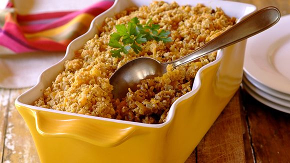 Beef, Carrot and Lentil Crumble