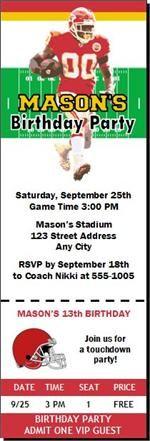 Kansas City Chiefs Colored Football Birthday Party Ticket Invitations from PrintVilla.com