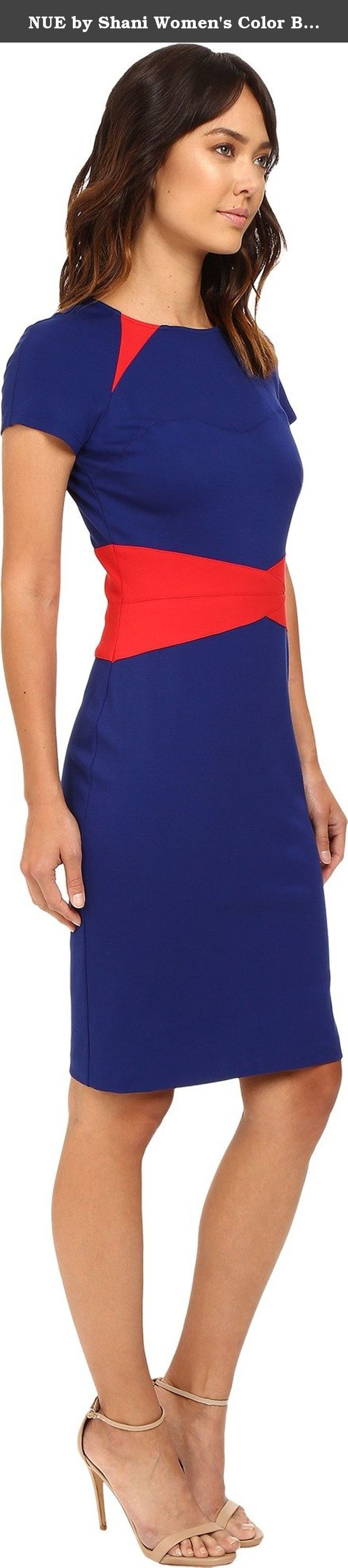 NUE by Shani Women's Color Blocking Knit Dress with Insets At Neckline and Waist Red/Indigo Dress. Curvaceous color-blocking highlights the slimming silhouette of this stunning sheath dress. Lined with built-in shape wear for sleek fit. Contrast insets featured at shoulders and waist for an elegant finish. Rounded neckline. Short raglan sleeves. Straight hemline. Back hook and zipper closure. 60% rayon, 33% nylon, 7% spandex;A Lining: 94% polyester, 6% spandex;B Lining: 85% polyester,15%...