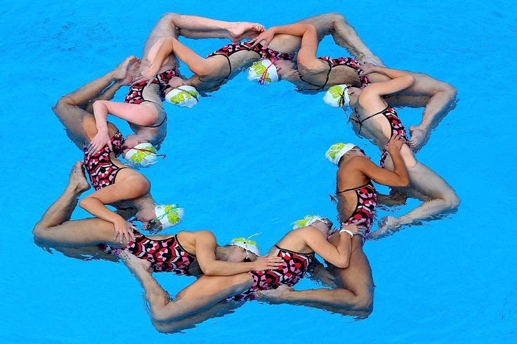 Australian Synchronized Swimming Team pose during a portrait session at Gold…