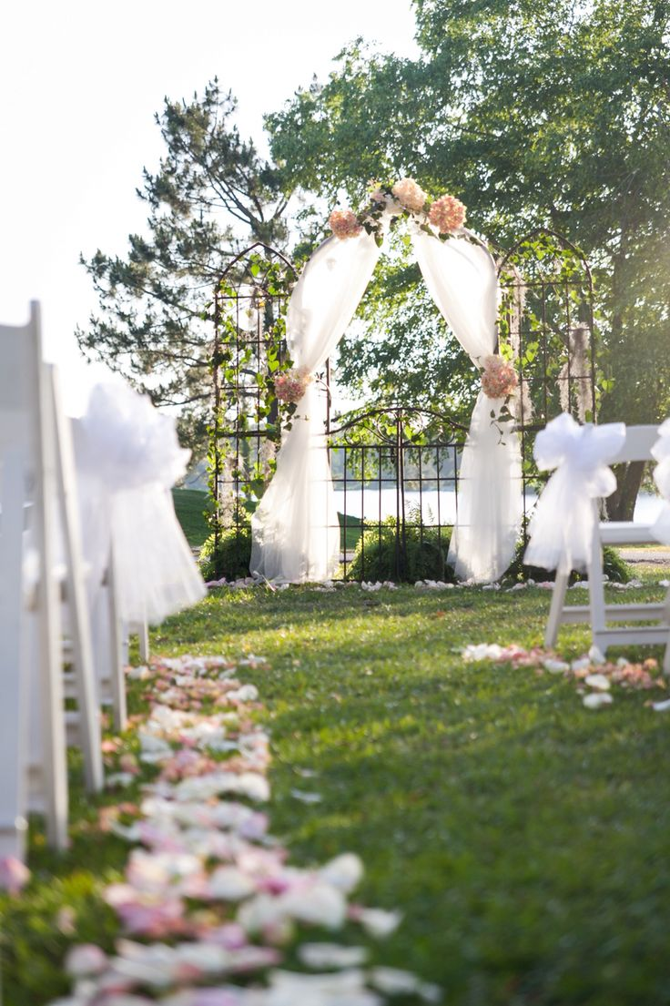 Wedding arch hydrangeas and moss