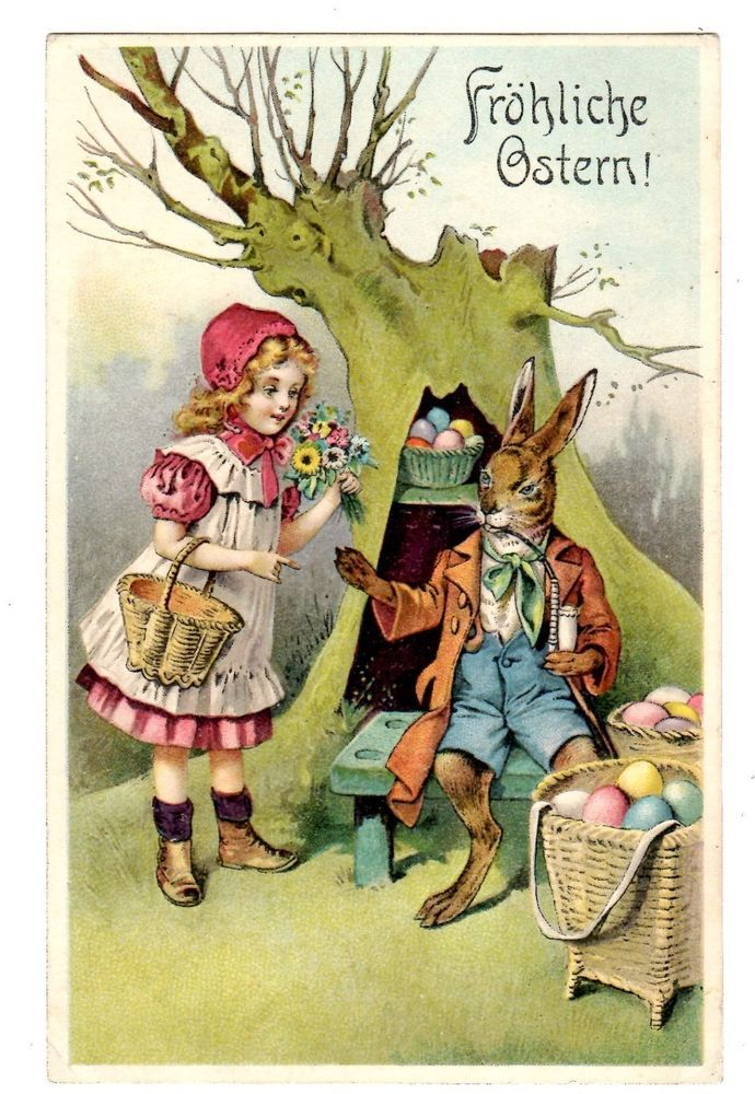 POSTCARD GERMAN EASTER GREETING DRESSED RABBIT AND GIRL WITH FLOWERS Easter