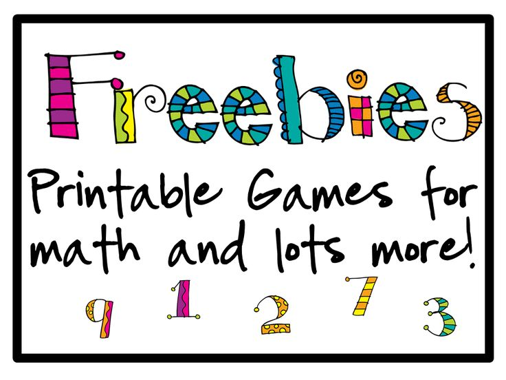 FREEBIES - Printable Games for Math and More!