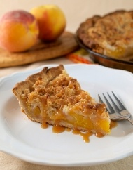 Salted Caramel Peach Crumble Pie recipe- made this and it was enough for 2 pies so I made an apple filling for the extra crust and added coconut to the crumble... yum with plain yoghurt!