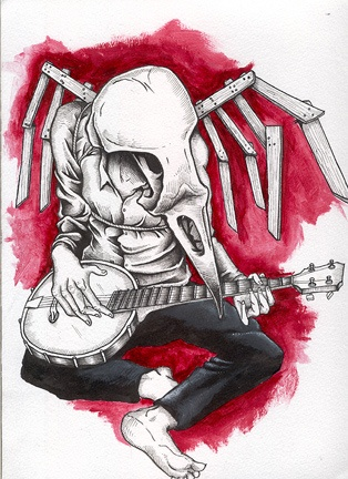"""frustrated banjo player.  This piece was comissioned by a fellow in Sweden. He said he wante to get a tattoo of the Okkervil River cover for """"Don't fall in Love with everyone you see"""", but was wondering if instead I would draw him somethign similar to it. Well, I did, but I don't know if he ever got the tattoo."""