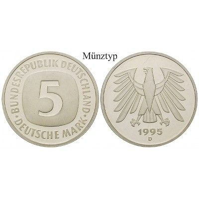 Bundesrepublik Deutschland, 5 DM 1995, A, PP, J. 415: Kupfer-Nickel-5 DM 1995 A. J. 415; Polierte Platte 50,00€ #coins