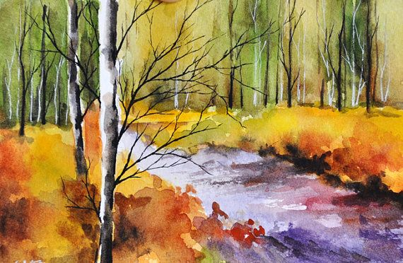 ORIGINAL Watercolor Painting, Postcard Sized Colorful Autumn Landscape, Fall Painting 4x6 inch