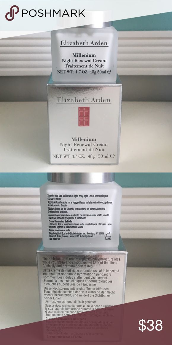 ✨NWOT Elizabeth Arden Night Renewal Cream✨ Jar never opened! Still in box- took out of box for picture. Elizabeth Arden Millenium Night Renewal Cream. 1.7 OZ. ✨5 star rated seller and fast shipper ✨Please use offer button. Elizabeth Arden Makeup
