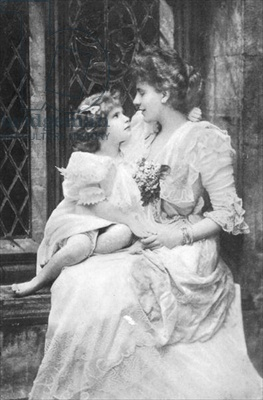 Alice Keppel with her daughter Violet. Mrs. Keppel was the favorite mistress of King Edward VII from 1898 until his death in 1910.  She is the great-grandmother of Camilla Parker Bowles through her younger daughter, Sonia.