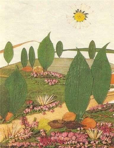 Yapraklardan doğa resmi