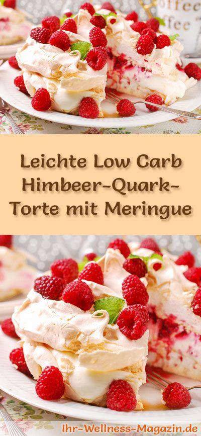 Rezept für eine leichte Low Carb Himbeer-Quark-Torte mit Meringue: Die kalorienreduzierte Quark-Torte mit Himbeeren wird ohne Zucker und Getreidemehl gebacken. Sie ist kohlenhydratarm ...