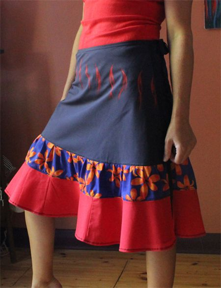 Wrap Skirt in recycled and handpainted fabrics (One size fits most Small - Large)