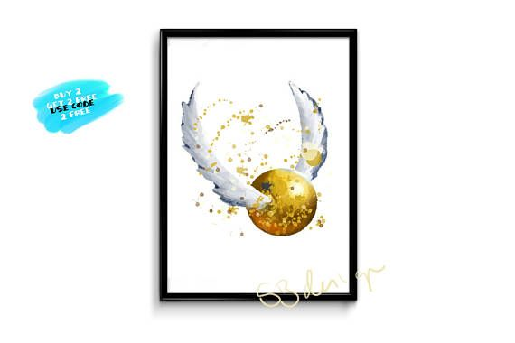 Harry Potter Watercolor Poster Golden Snitch Poster Watercolor