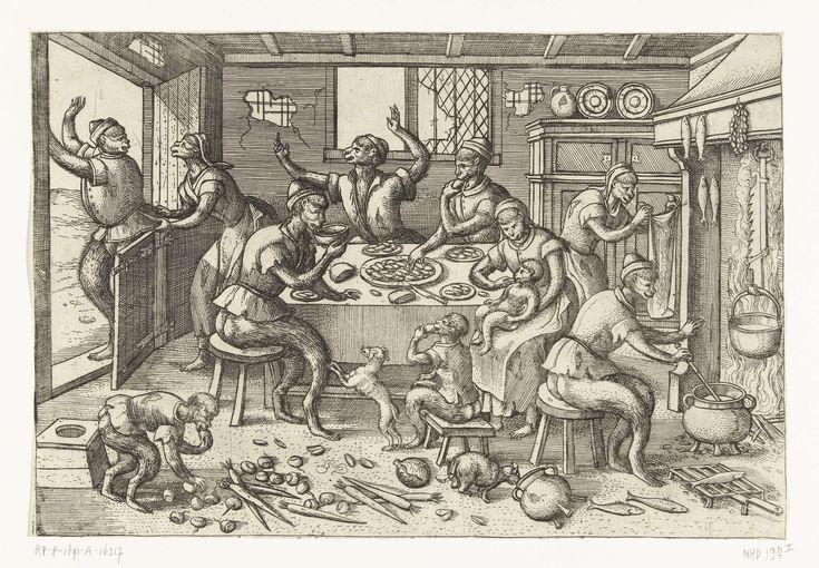 Pieter van der Borcht (I)   Magere keuken, Pieter van der Borcht (I), Pieter Brueghel (I), Pieter van der Heyden, 1563 - 1608   Een 16de-eeuws keukentafereel. In een bouwvallig huis zitten enkele magere apen rondom een tafel. Ze graaien uit een schaal met mosselen. Eentje drinkt een kom met soep. Verspreid over de grond liggen wortels, rapen en kool, groentes voor de armen. Boven de haard worden vissen gerookt, ook armenvoedsel. Een dikke aap is op bezoek geweest, maar probeert nu weer weg…
