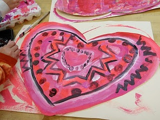 Picasso's Rose Period Hearts - just use pink paints to create these Valentine Hearts!