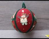 """boule de noël en tissu patchwork """"Mon renne de Noël"""" : Accessoires de maison par loisirs-creatifs-fanfan"""
