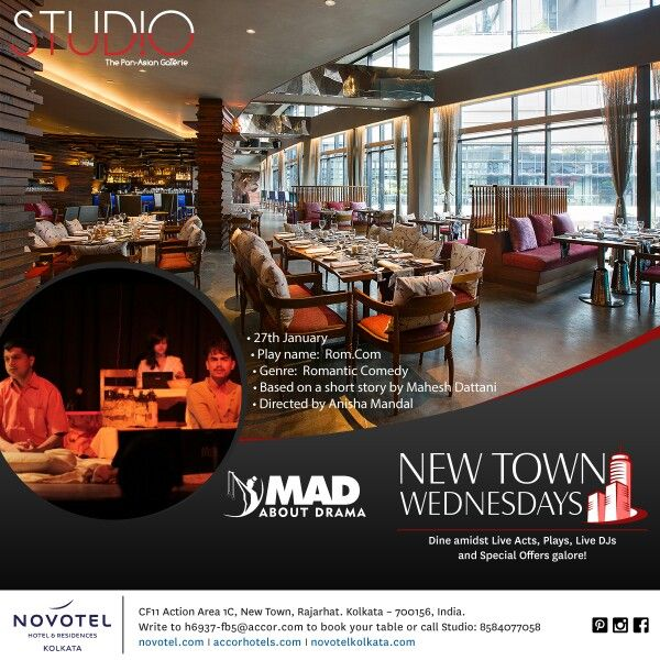 Mahesh Dattani's rom.com by Mad About Drama tonight at Studio over dinner from 9 pm onwards! Special discounts for New Town residents! Call 8584077058 to book your table!